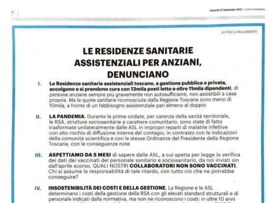 """""""Le residenze sanitarie assistenziali per anziani denunciano"""""""
